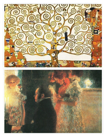Buttonsmith® Gustav Klimt Tree of Life & Schubert Rectangular Refrigerator Magnet Set - Made in the USA