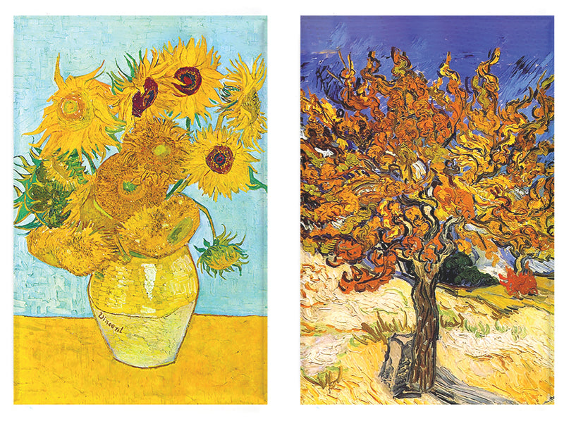 Buttonsmith® Vincent Van Gogh Sunflowers Refrigerator Magnet Set - Made in the USA - Buttonsmith Inc.