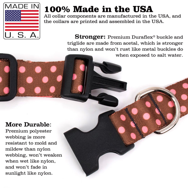 Buttonsmith Cocoa Pink Dots Dog Collar - Made in USA