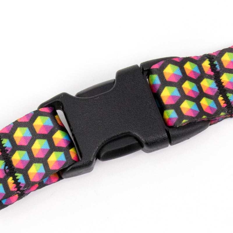 Buttonsmith Rainbow Hexes Lanyard - Made in USA - Buttonsmith Inc.