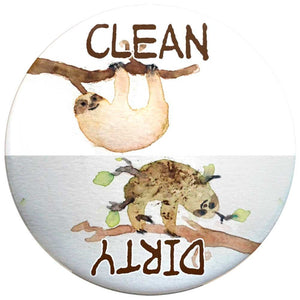 Buttonsmith Sloth Clean-Dirty Dishwasher Magnet