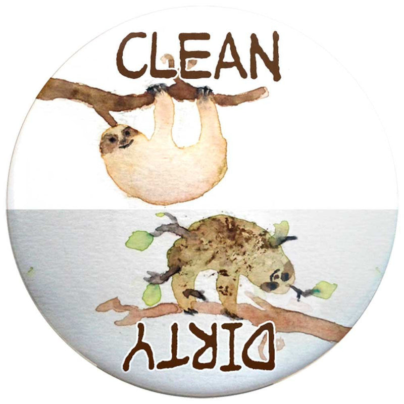 Buttonsmith Sloth Clean-Dirty Dishwasher Magnet - Buttonsmith Inc.