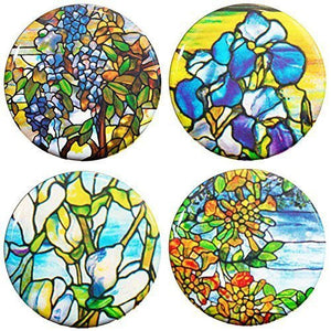 Buttonsmith® Louis Comfort Tiffany Magnolia Tinker Top® Set – Made in USA – for use with Tinker Reel® Badge Reels