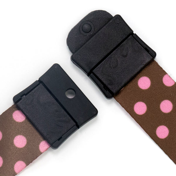 Buttonsmith Cocoa Pink Dots Breakaway Lanyard - Made in USA