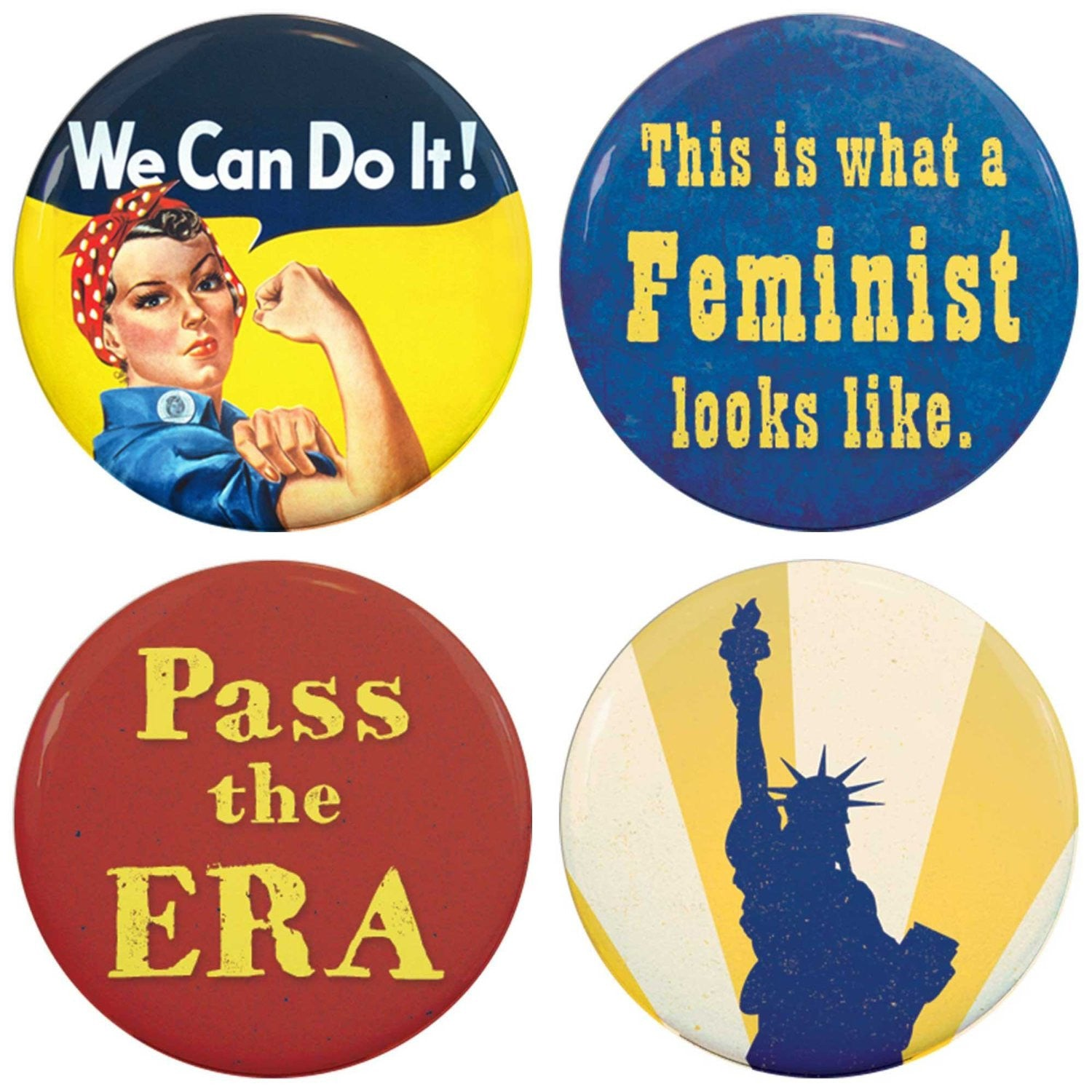 Buttonsmith® Feminist Tinker Top® Set – Made in USA – for use with Tinker Reel® Badge Reels