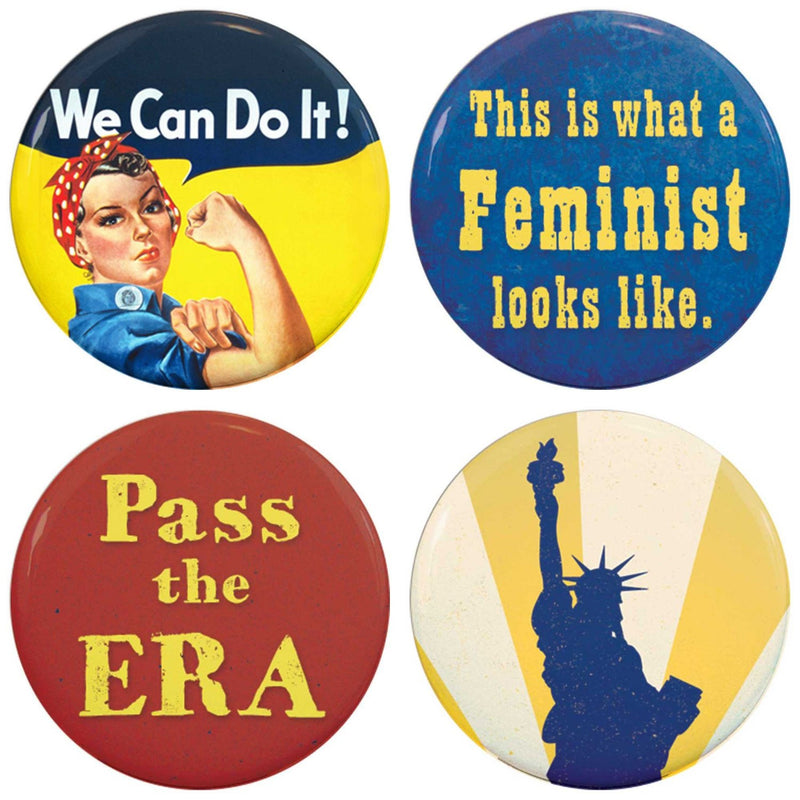 Buttonsmith® Feminist Tinker Top® Set – Made in USA – for use with Tinker Reel® Badge Reels - Buttonsmith Inc.