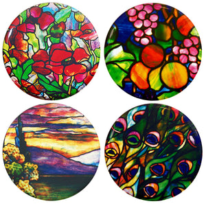 Buttonsmith® Louis Comfort Tiffany Poppies Tinker Top® Set – Made in USA – for use with Tinker Reel® Badge Reels