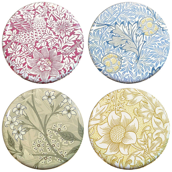 Buttonsmith® William Morris Bird and Anemone Tinker Top® Set – Made in USA – for use with Tinker Reel® Badge Reels