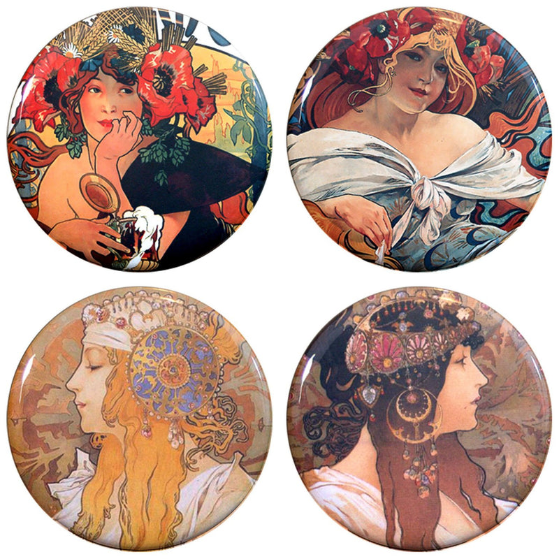 Buttonsmith® Alphonse Mucha Beer Tinker Top® Set – Made in USA – for use with Tinker Reel® Badge Reels - Buttonsmith Inc.