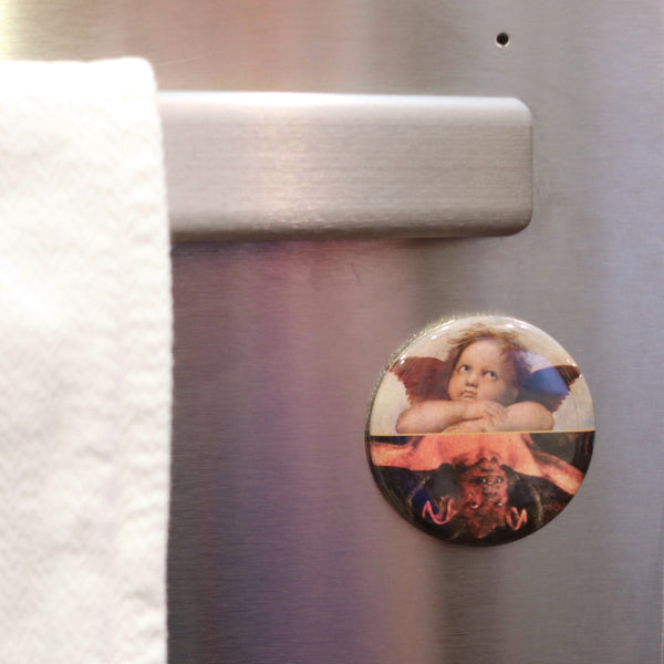 Buttonsmith Angel and Devil Clean-Dirty Dishwasher Magnet