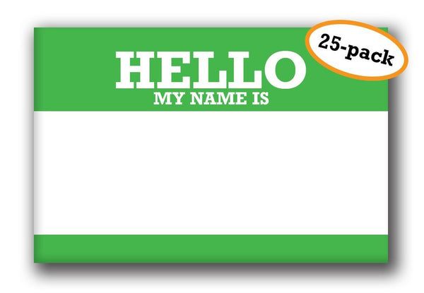 Buttonsmith® Reusable Pinback Name Tag - Pack of 25