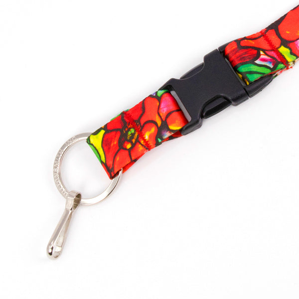Buttonsmith Tiffany Poppies Breakaway Lanyard - Made in USA