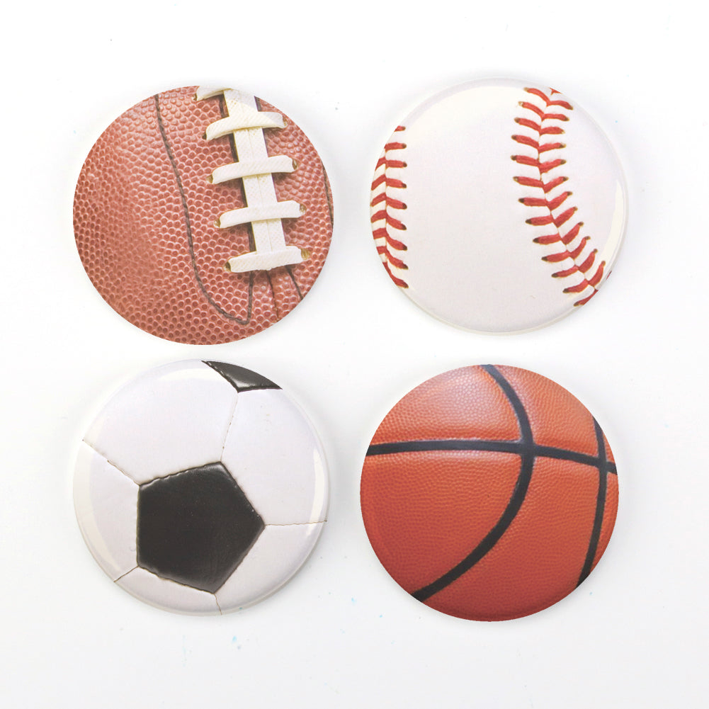 "Buttonsmith® Sports Balls 1.25"" Magnet Set - Made in the USA"