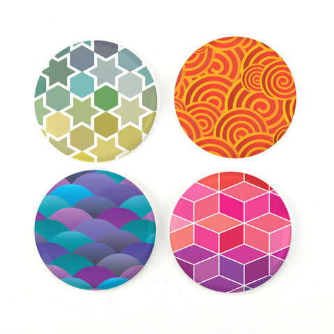 "Buttonsmith® Shape Patterns 1.25"" Magnet Set - Made in the USA"
