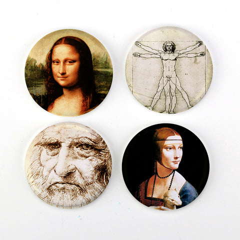 "Buttonsmith® Leonardo da Vinci 1.25"" Refrigerator Magnet Set Made in USA"