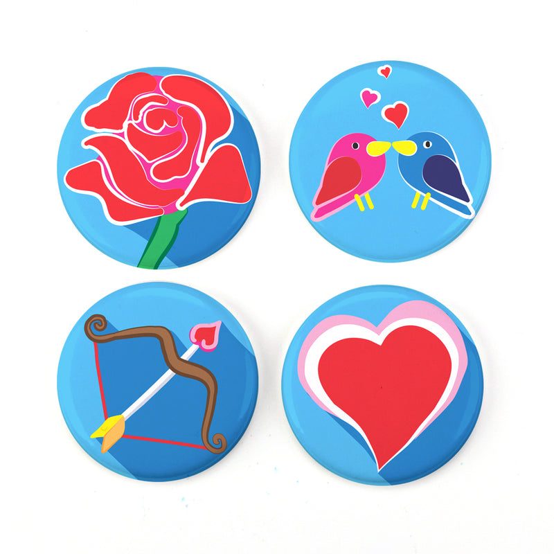 "Buttonsmith® 1.25"" Valentine Refrigerator Magnets - Set of 4 - Buttonsmith Inc."
