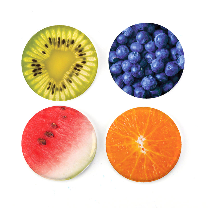 "Buttonsmith® Yummy Fruit 1.25"" Magnet Set - Made in the USA - Buttonsmith Inc."