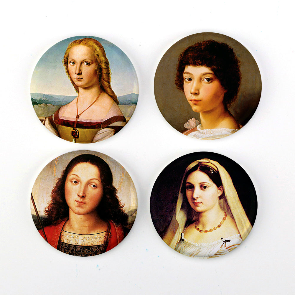 "Buttonsmith® Raphael Portraits 1.25"" Refrigerator Magnet Set of 4 - Made in the USA"