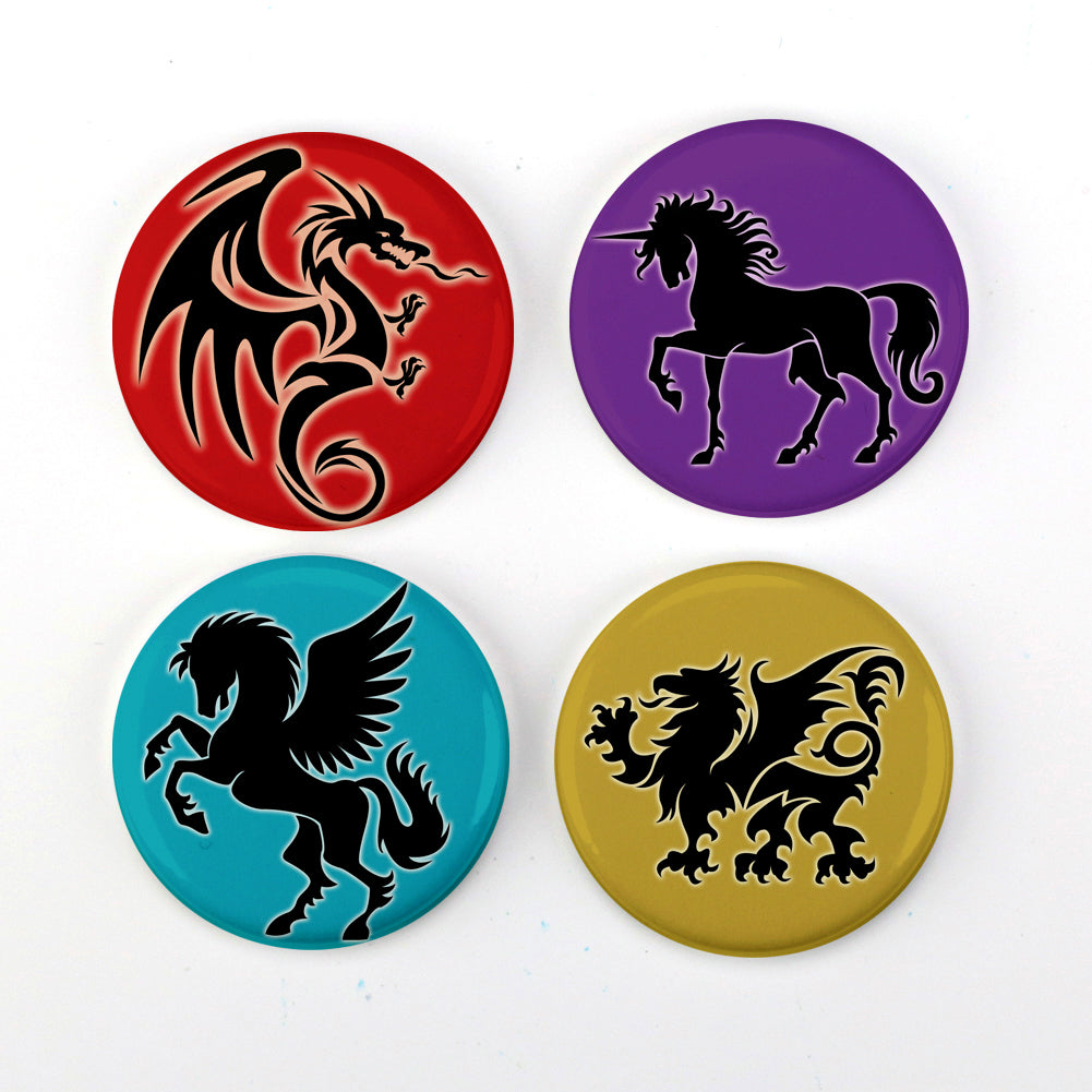 Buttonsmith® Mythical Creatures Magnet Set with Unicorn, Gryphon, Dragon, & Pegasus Made in USA
