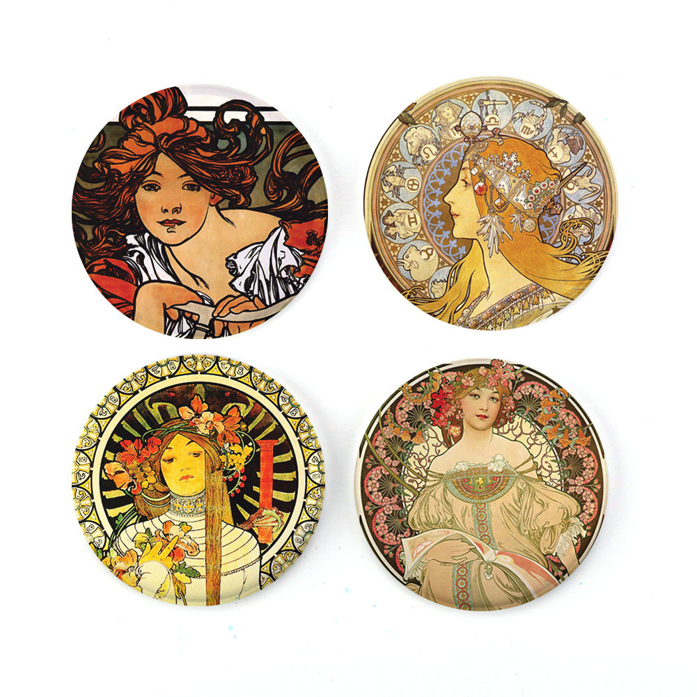 Buttonsmith® Alphonse Mucha Perfecta Tinker Top® Set – Made in USA – for use with Tinker Reel® Badge Reels