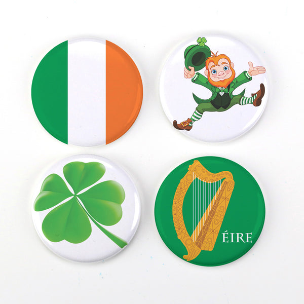 Buttonsmith® Ireland Refrigerator Magnet Set Featuring Lepruchaun and Shamrock Made in USA