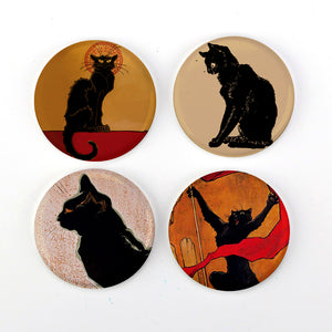 "Buttonsmith® 1.25"" Steinlen Les Chats Noir Cats Refrigerator Magnets - Set of 4"