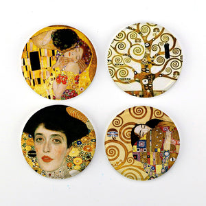 "Buttonsmith® 1.25"" Gustav Klimt Refrigerator Magnets - Set of 4"