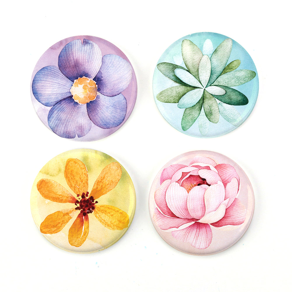 "Buttonsmith® Watercolor Flowers 1.25"" Magnet Set - Made in the USA"