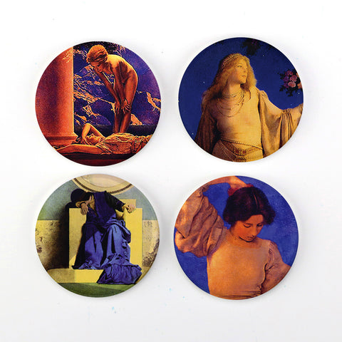 "Buttonsmith® Maxfield Parrish Art Nouveau 1.25"" Refrigerator Magnet Set - Made in the USA"