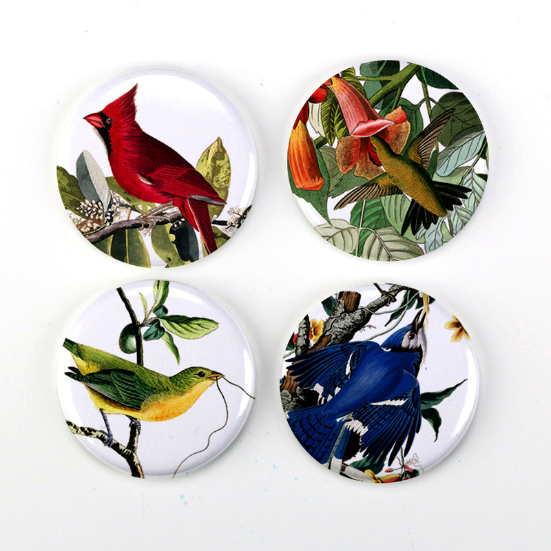 "Buttonsmith® 1.25"" Audubon Birds Refrigerator Magnets - Set of 4 - Buttonsmith Inc."