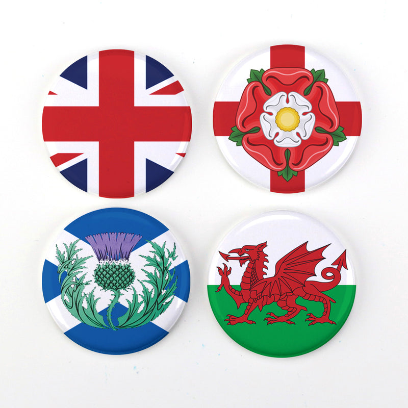 "Buttonsmith® UK United Kingdom Anglophile British 1.25"" Magnet Set - Made in the USA - Buttonsmith Inc."