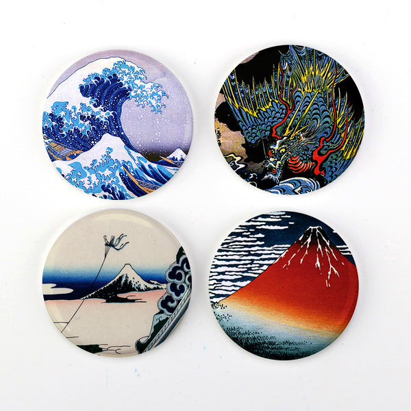 "Buttonsmith® 1.25"" Hokusai Refrigerator Magnets - Set of 4"