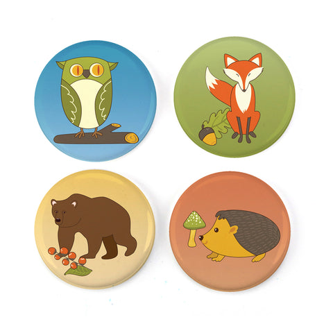 "Buttonsmith® Woodland Creatures 1.25"" Magnet Set - Made in the USA"