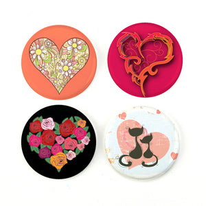 "Buttonsmith® Romantic Hearts 1.25"" Magnet Set - Made in the USA"