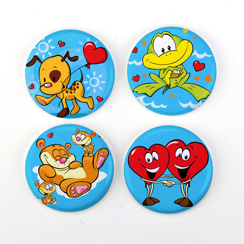 "Buttonsmith® Cartoon Love 1.25"" Refrigerator Magnet Set - Made in the USA - Buttonsmith Inc."