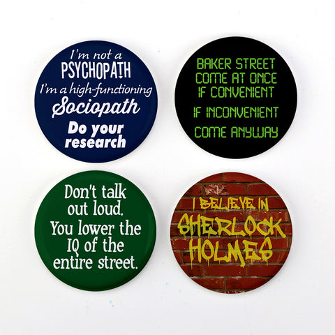 "Buttonsmith® Sherlock Holmes 1.25"" Refrigerator Magnets - Made in the USA"