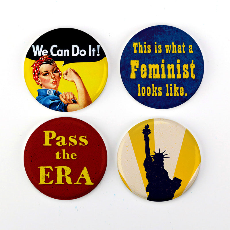 "Buttonsmith® Retro Feminist 1.25"" Refrigerator Magnet Set Made in USA - Buttonsmith Inc."