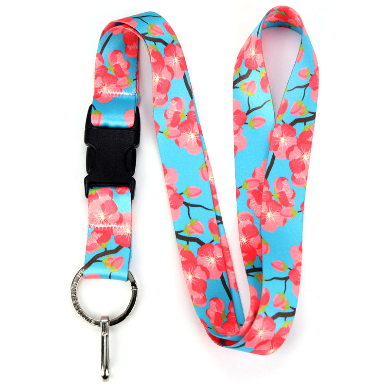 Buttonsmith Cheery Cherry Blossoms Lanyard - Made in USA - Buttonsmith Inc.