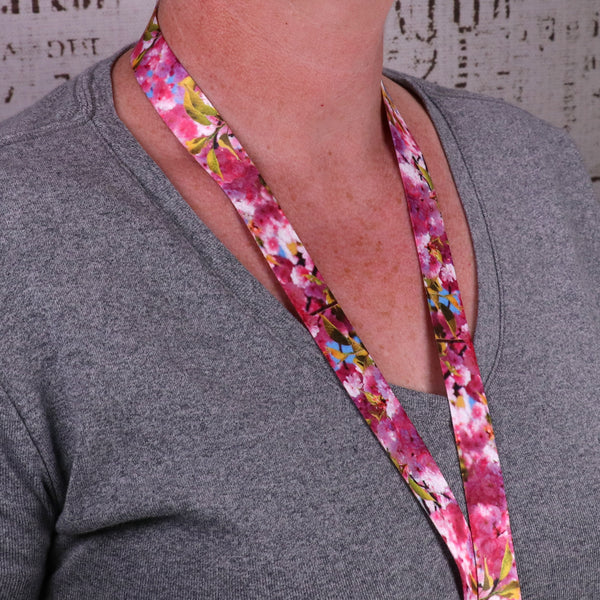 Buttonsmith Cherry Blossoms Photo Custom Lanyard - Made in USA