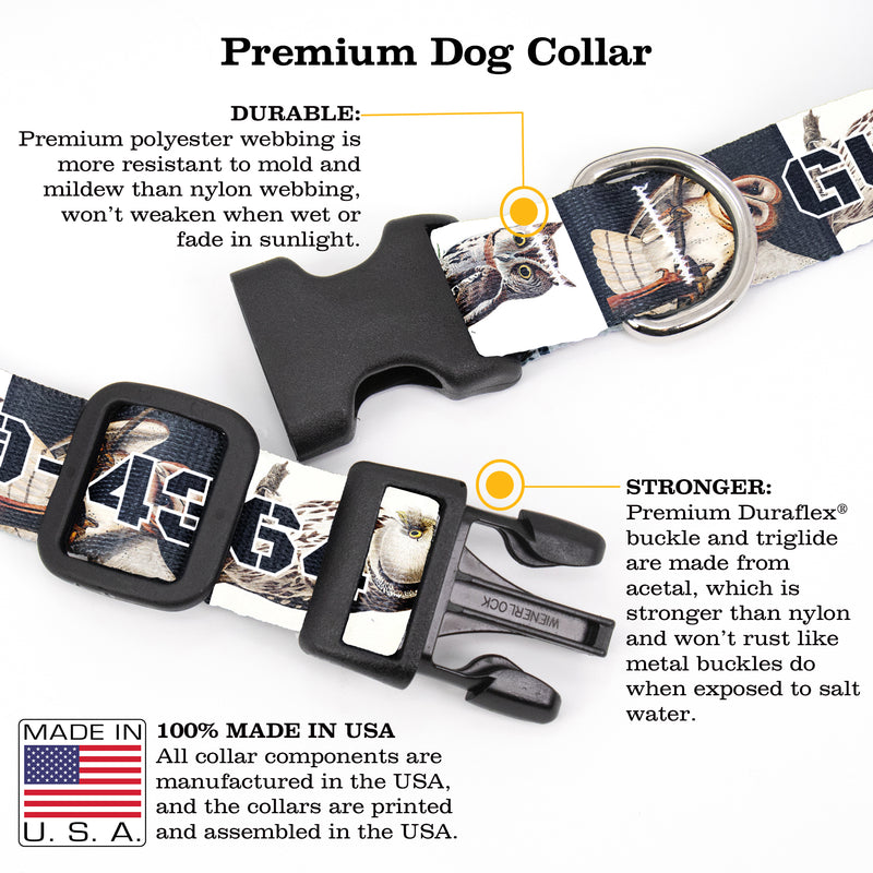 Buttonsmith Audubon Owls Custom Dog Collar - Made in USA