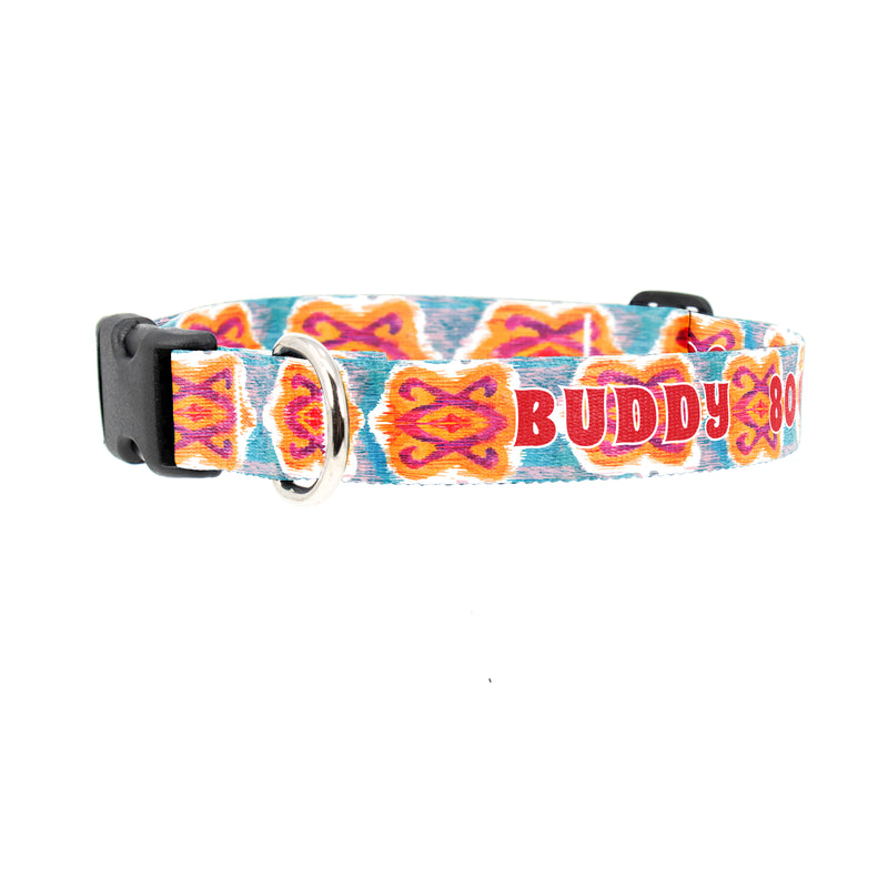 Buttonsmith Ikat Blossom Custom Dog Collar - Made in USA