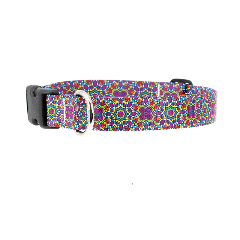 Buttonsmith Moroccan Tiles MultiFlowers Dog Collar - Made in USA