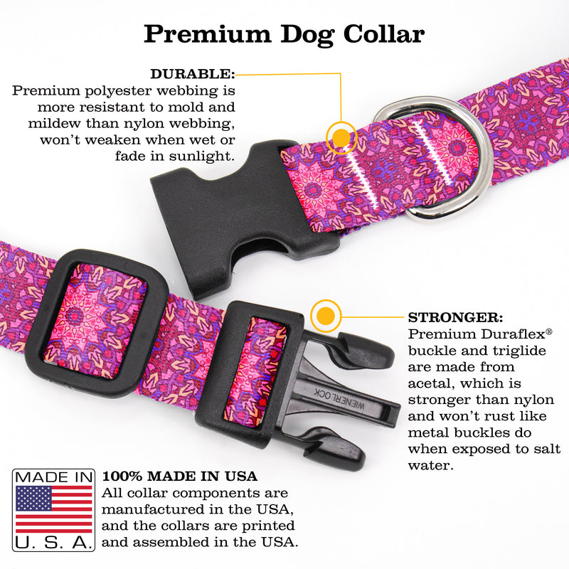Buttonsmith Moroccan Tiles Pink Dog Collar - Made in USA