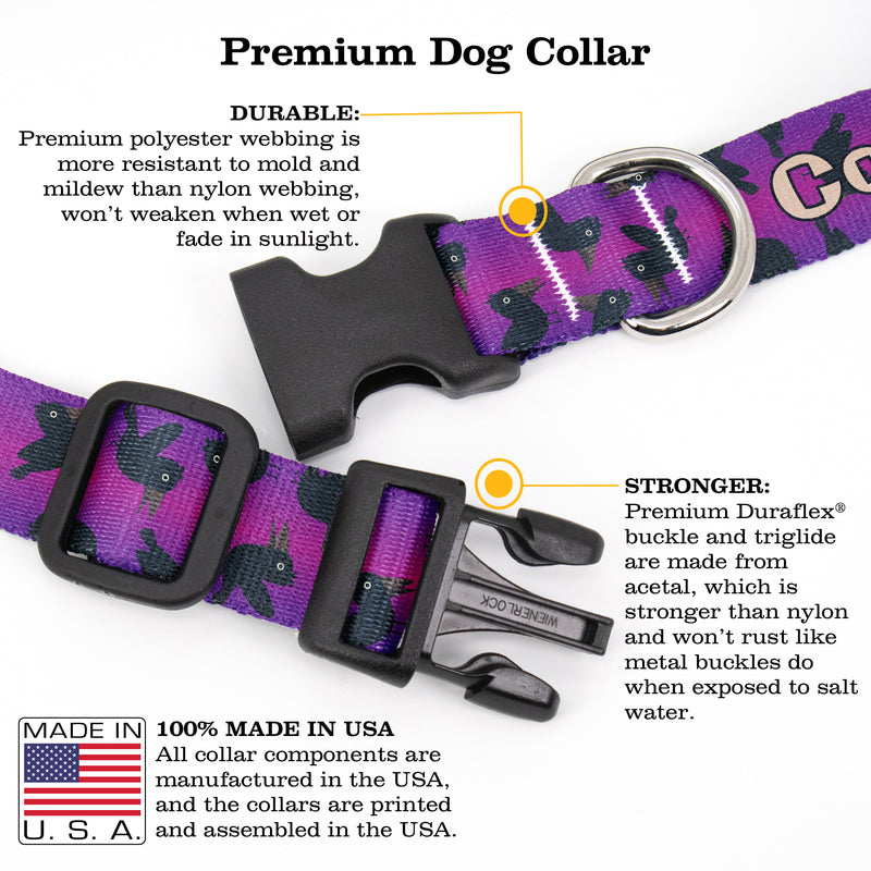 Buttonsmith Purple Crows Custom Dog Collar - Made in USA
