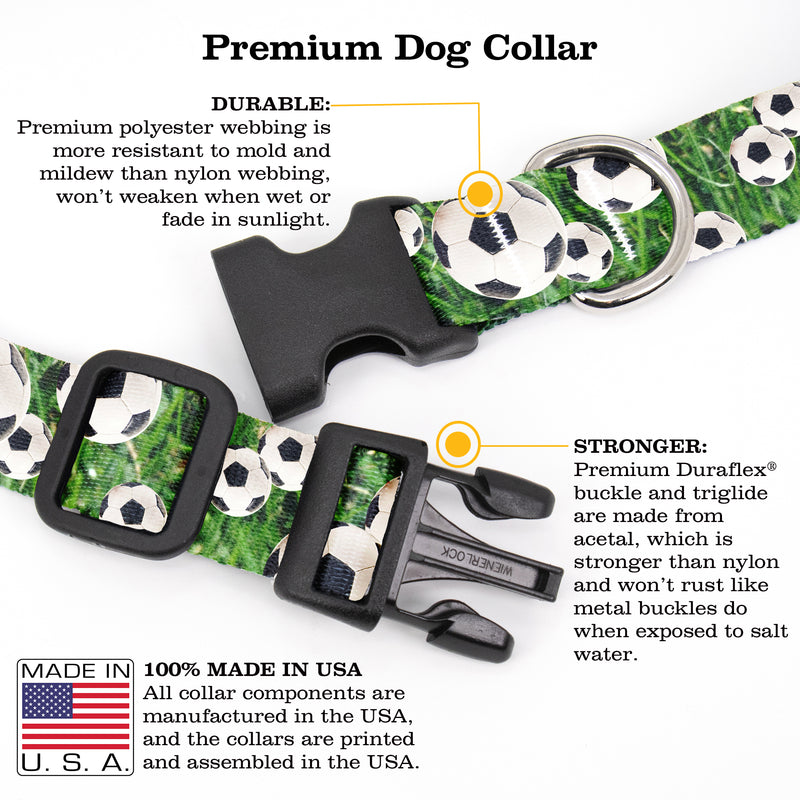 Buttonsmith Soccer Dog Collar - Made in USA
