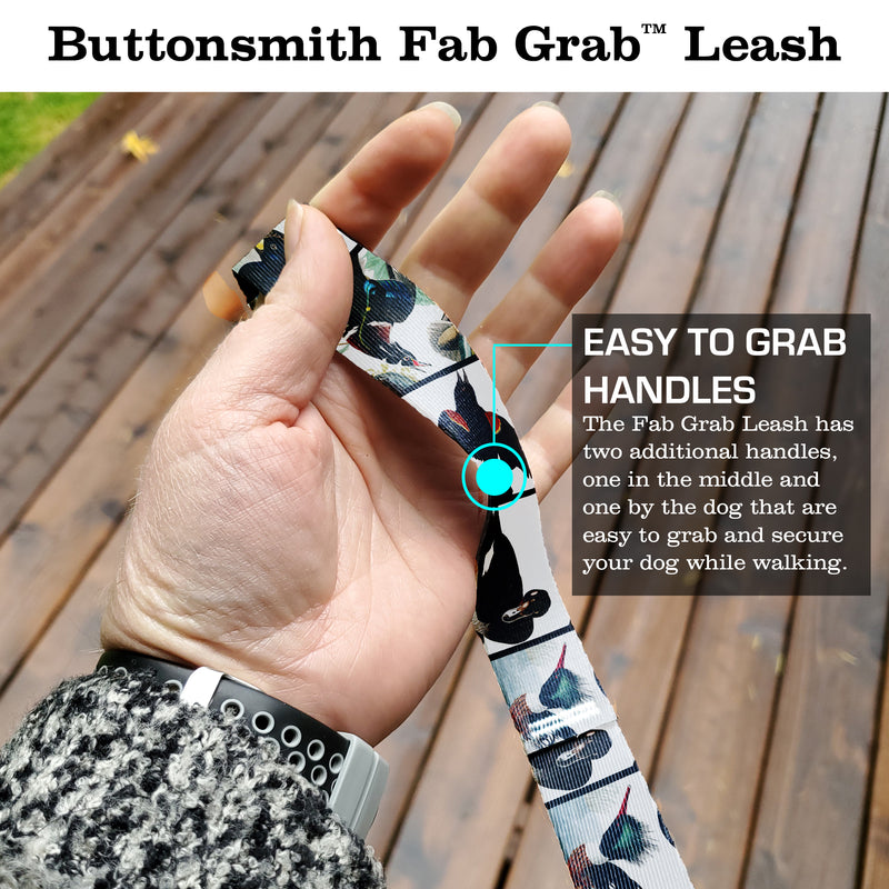 Audubon Ducks Fab Grabᵀᴹ Leash - Made in USA - 3 Handles - Heavy Duty Quick Clasp
