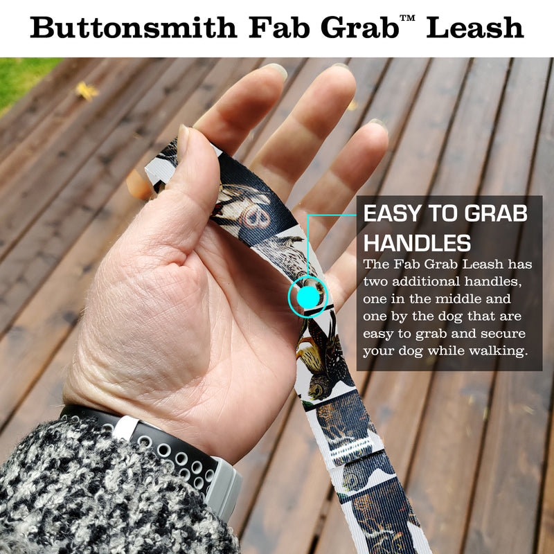 Audubon Owls Fab Grabᵀᴹ Leash - Made in USA - 3 Handles - Heavy Duty Quick Clasp - Buttonsmith Inc.