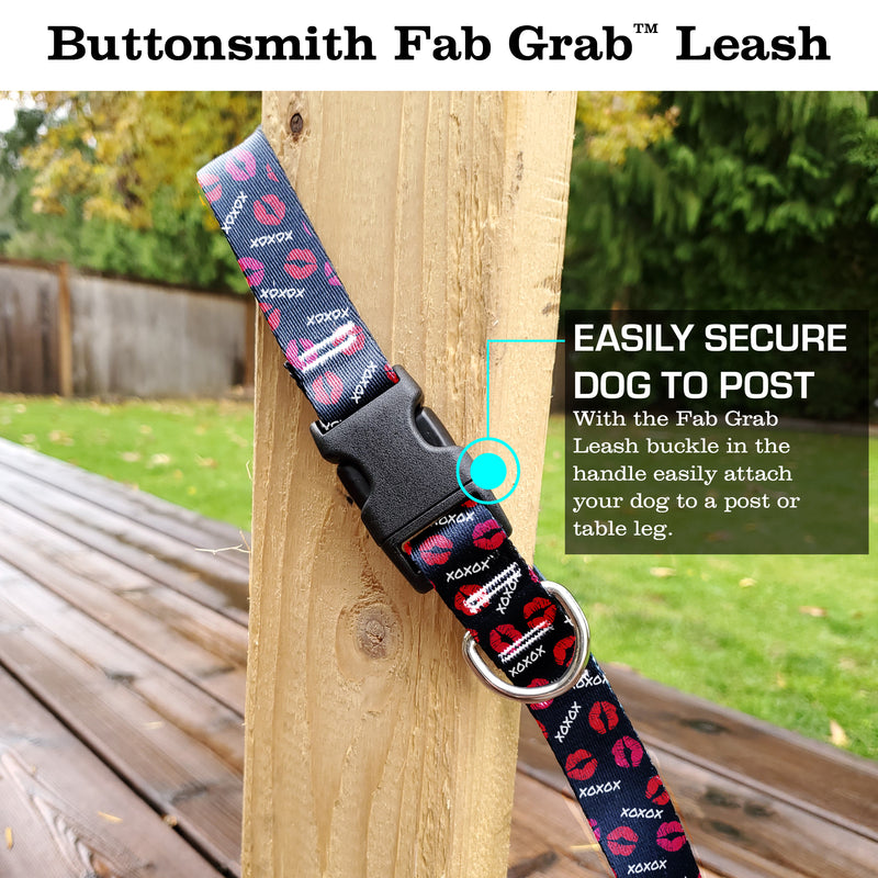 Kisses Black Fab Grab Leash - Made in USA