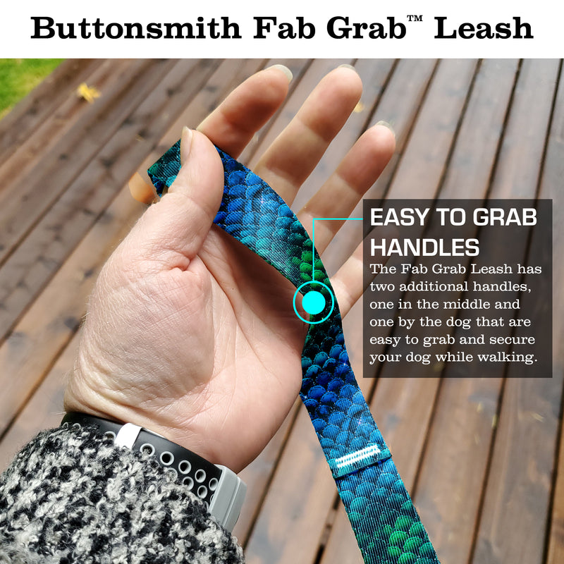 Mermaid Scales Blue Fab Grab Leash - Made in USA