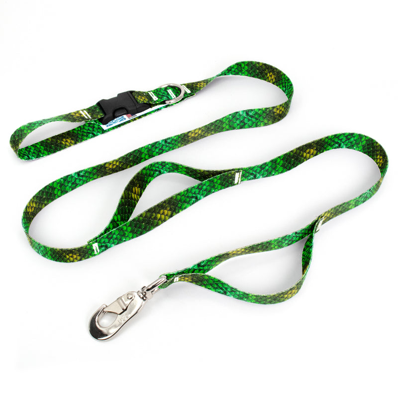 Mermaid Scales Green Fab Grab Leash - Made in USA